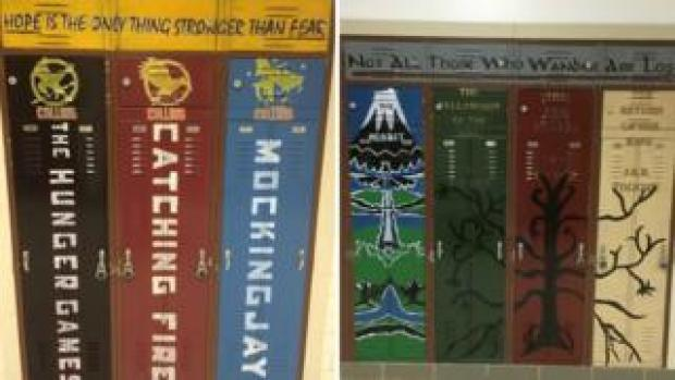 School lockers painted to look like the spines of Harry Potter Books