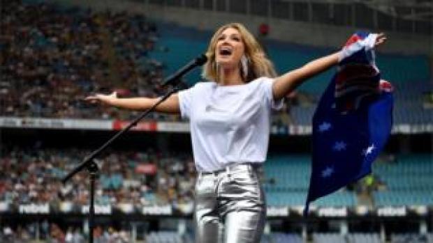 Australian singer Delta Goodrem performs