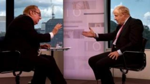 Andrew Neil and Boris Johnson during The Andrew Neil Interviews in July