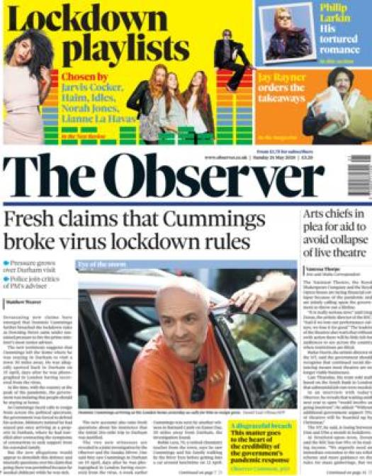 The Observer front page 24 May