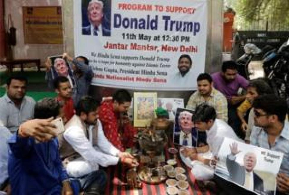 Activists of Hindu Sena, a Hindu right-wing group, perform a special prayer to ensure a victory of Republican U.S. presidential candidate Donald Trump in the upcoming elections, according to a media release, in New Delhi, India May 11, 2016.