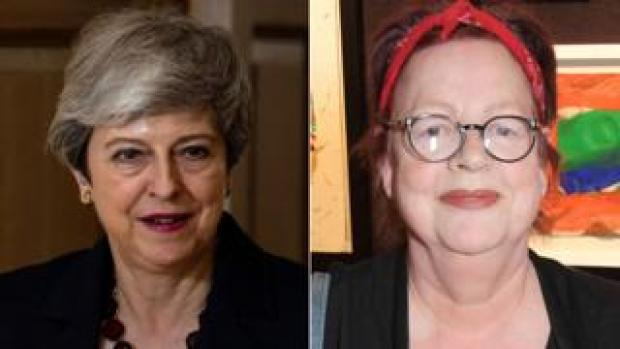 Theresa May and Jo Brand