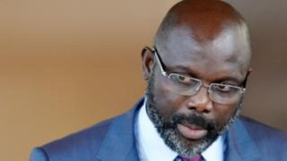 Liberian President George Weah at a press conference, April 2018