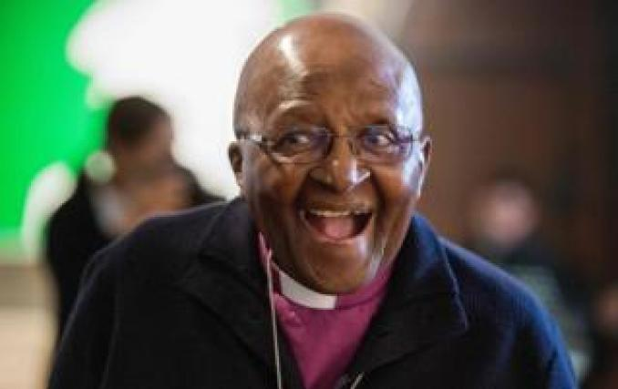 Archbishop Emeritus and Nobel Laureate Desmond Tutu, attends an exhibition and book launch of notable photographs of his life, which have been turned into paintings, on April 27, 2019, in the centre of Cape Town