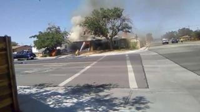 Firefighters battle flames in Ridgecrest
