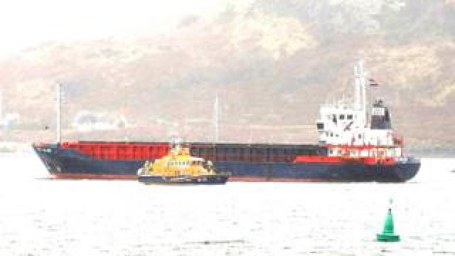 Lifeboat and freighter