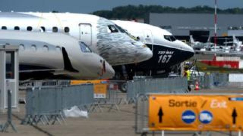 Jetliners stand on the tarmac on June 16, 2017 in le Bourget near Paris prior to the opening of the International Paris Air Show on June 19