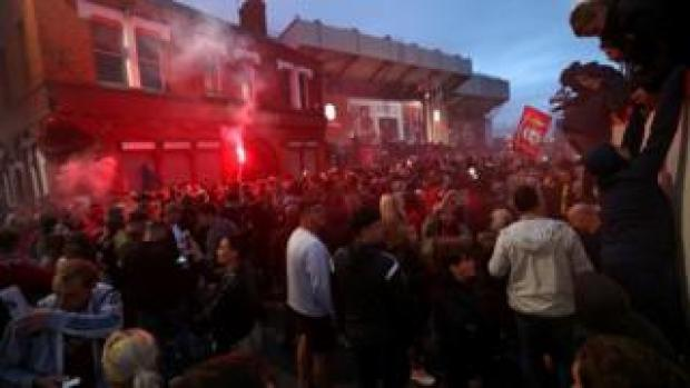 Fans gathered around Anfield