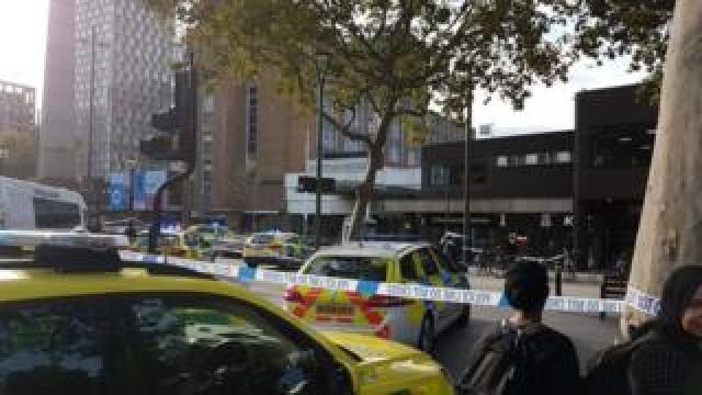 Crime scene outside Stratford Shopping Centre.