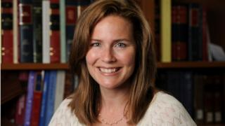 Judge Amy Coney Barrett poses in an undated photograph obtained from Notre Dame University