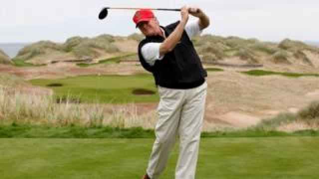 Donald Trump at the Trump International Golf Links near Aberdeen