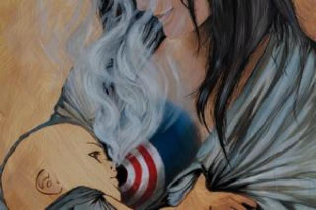 A painting by Carla Lucarelli, depicting a mother feeding her newborn baby smoke from her breast