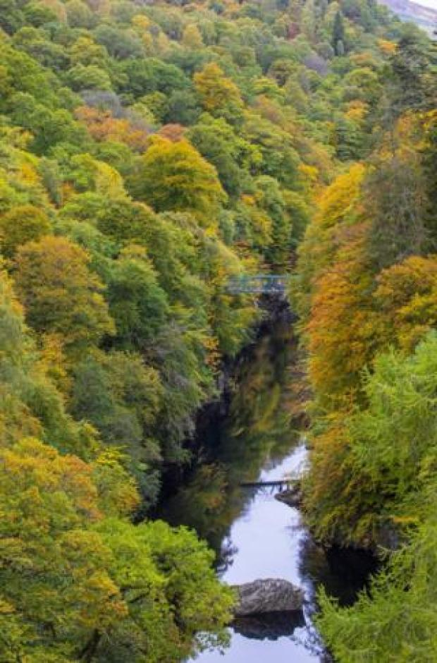 Green, red and yellow trees are seen either side of a bridge over the River Barry near the village of Killiecrankie in Perthshire