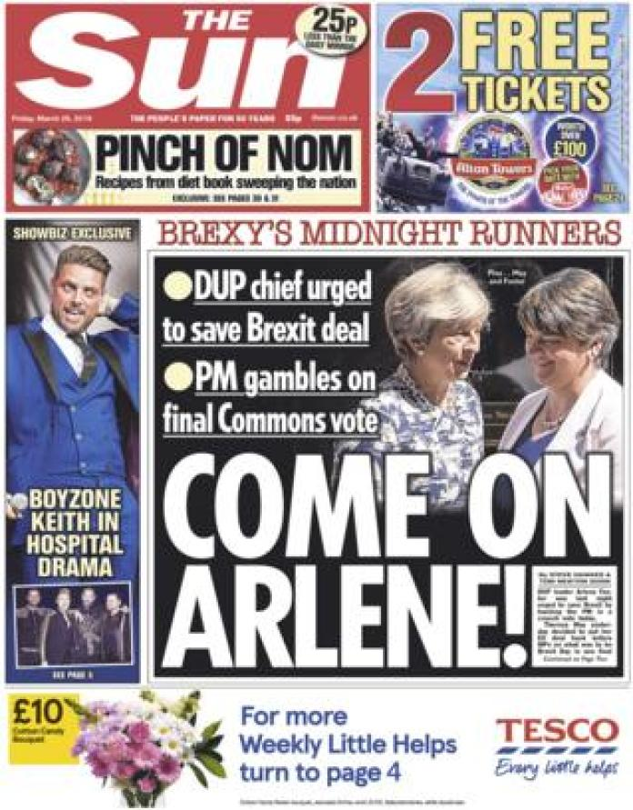 The Sun front page, 29/3/19