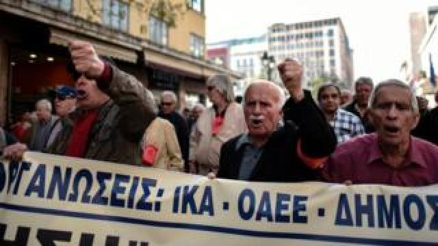 Pensioners demonstrating in Greece
