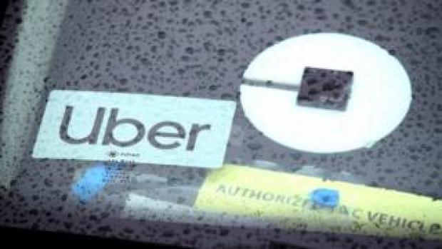 Uber sign on car
