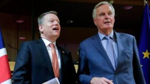 European Union chief Brexit negotiator Michel Barnier (R) and the British Prime Minister's Europe adviser David Frost at the start of talks on 2 March