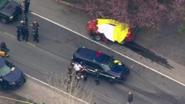 Scene of shooting and fatal car crash in Seattle, US. 27 March 2019