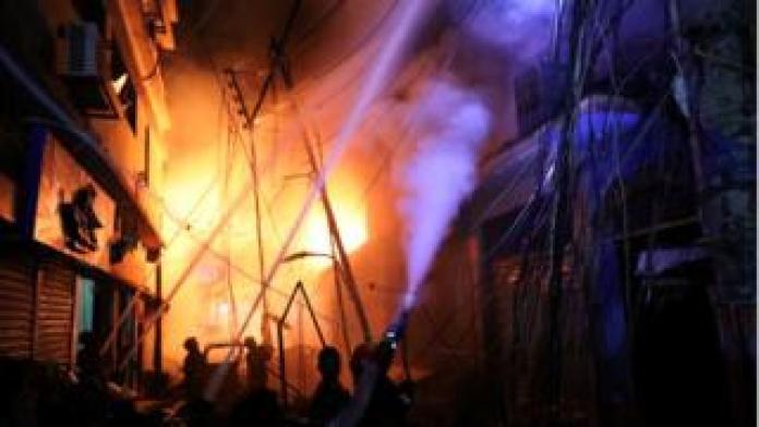 Fire flame in Dhaka