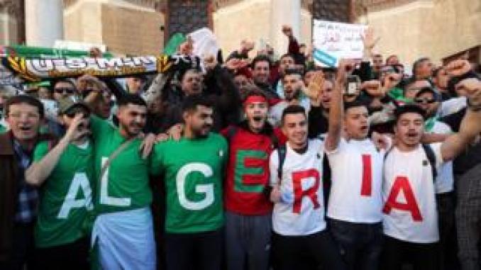 Algerian protesters during a protest in Algiers against extending President Abdelaziz Bouteflika's mandate
