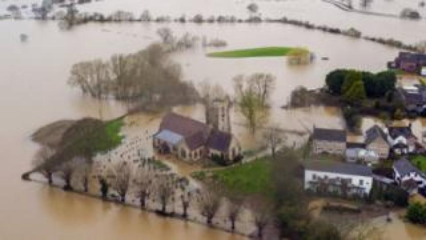 Flood waters continue to surround Severn Stoke in Worcestershire in the aftermath of Storm Dennis