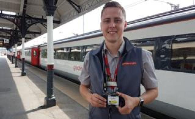 Greater Anglia worker with camera badge