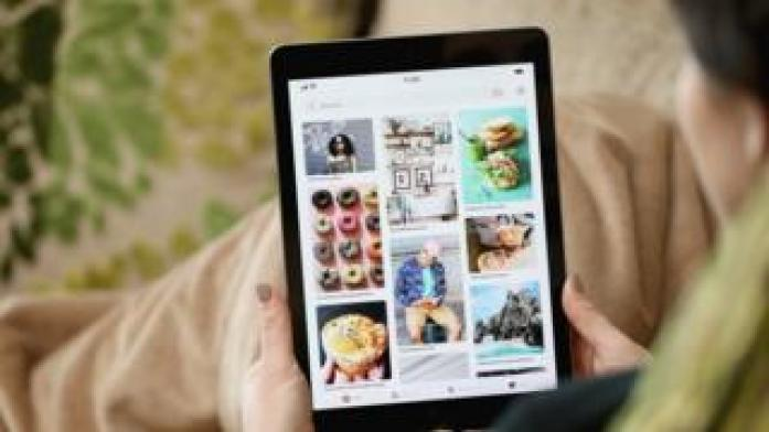 A Pinterest page shown on an iPad