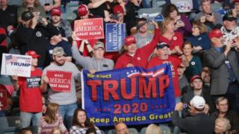 NEWS Supporters attend a campaign rally with U.S. President Donald Trump at the Mid-America Center on 9 October 2018 in Council Bluffs. Iowa