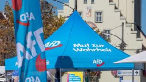 Campaign booth for AfD in Bavaria Sept 27