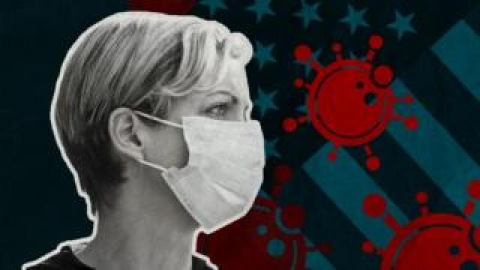 Graphic image of an american woman in a mask