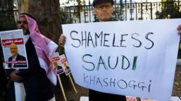 People protest against the killing of journalist Jamal Khashoggi outside the Saudi Arabian Embassy in London, October 26 2018