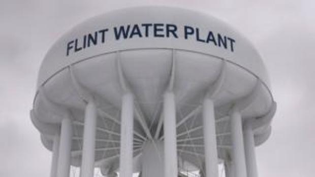 The top of a water tower is seen at the Flint Water Plant in Flint, Michigan in this January 13, 2016 file photo