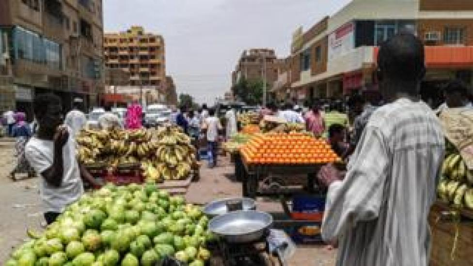 This picture taken on June 11, 2019 shows a view of produce stalls and carts at a market in the Sudanese capital Khartoum. (