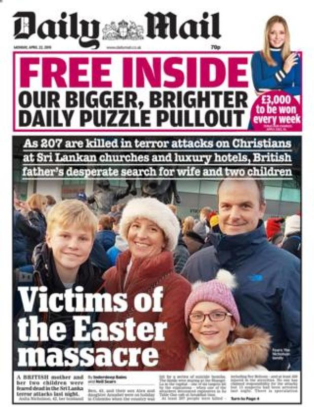 Daily Mail front page 22/04/19