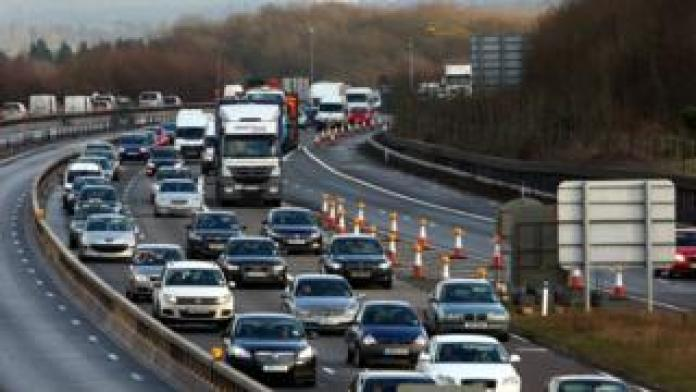 A general view of the M25 near Westerham, Kent on Friday 21 December, as traffic builds up for the Christmas getaway.
