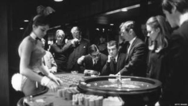 Playing roulette at London's Playboy Club on Park Lane, Central London in 1967