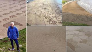 Artist Simon Becks Giant Somerset Beach Art BBC News