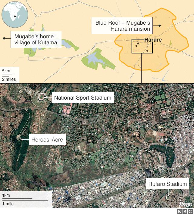 Funeral map - Mugabe