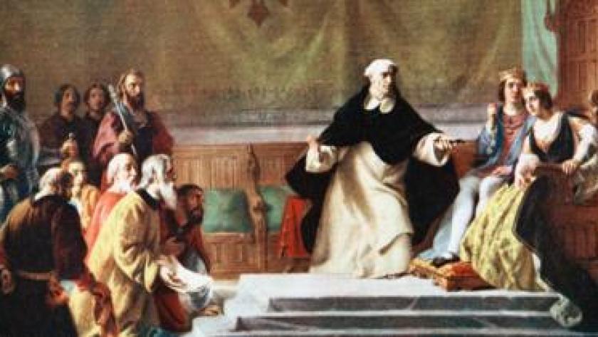 Pintura que muestra a los reyes católicos Isabel I de Castilla y Fernando II de Aragón con un religioso durante la firma del decreto que expulsó a los judíos en 1492