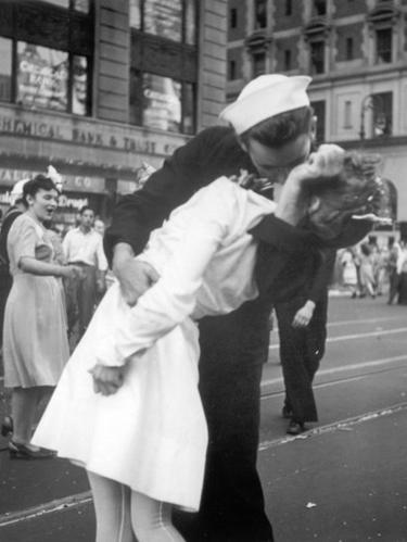 Famous photo of VJ Day celebrations in Times Square on 14 August 1945