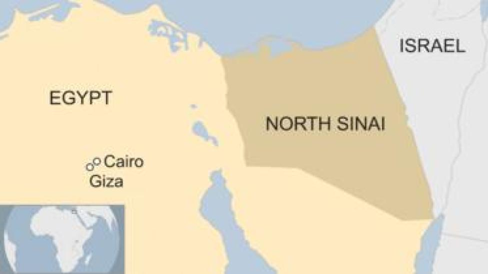 Map showing Egypt with Cairo, Giza and North Sinai marked