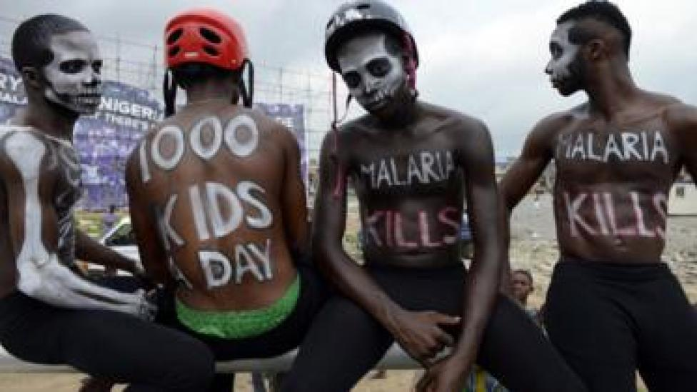 People protesting in Nigeria about amalria deaths