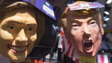 Hillary and Trump masks