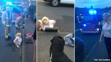 Girl stuck down a drain in Dover