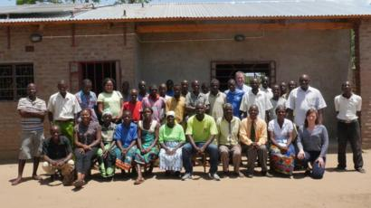 Research team and locals in Malawi