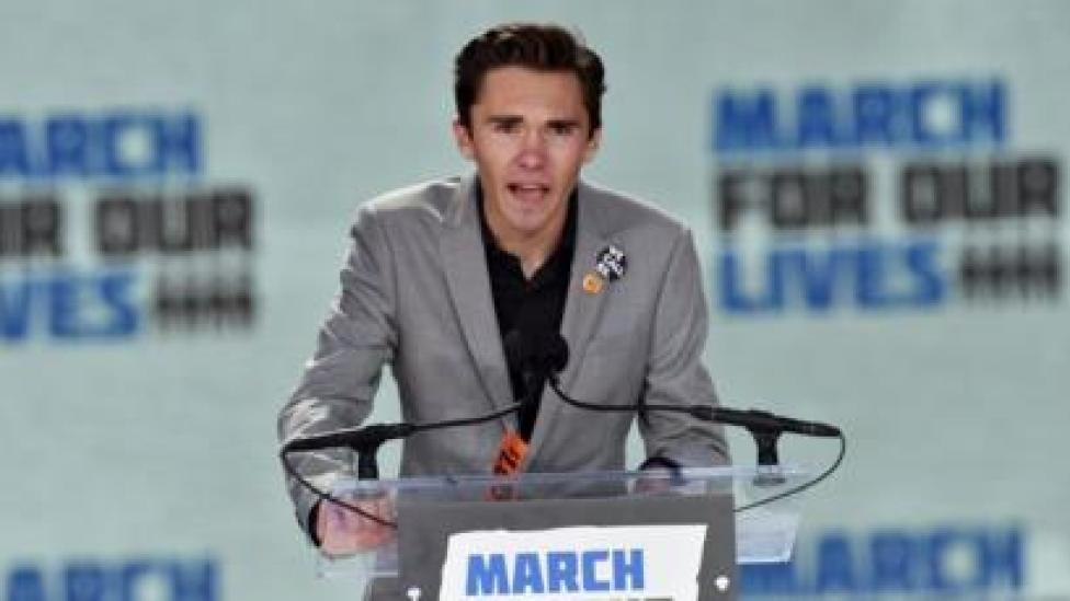 David Hogg speaking at the March For Our Lives in March 2018.
