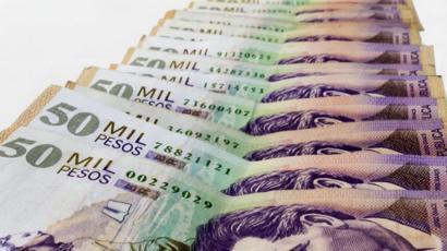 Billetes de 50 mil pesos colombianos.
