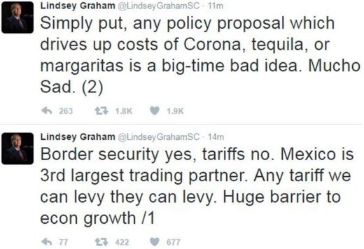 US Senator Lindsey Graham tweeted his response to the tariff plan