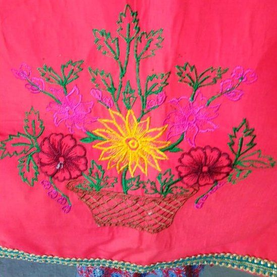 An example of the embroidery by the women