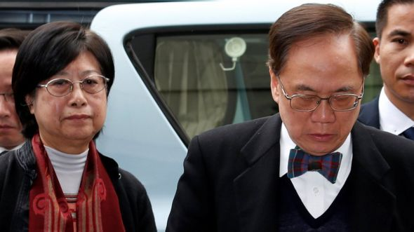 Former Hong Kong Chief Executive Donald Tsang and his wife Selina arrive at the High Court in Hong Kong, China, 20 February 2017.